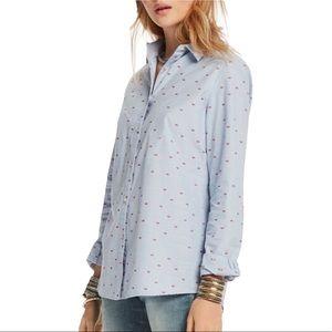 Scotch & Soda Lips Print Blue Poplin Shirt